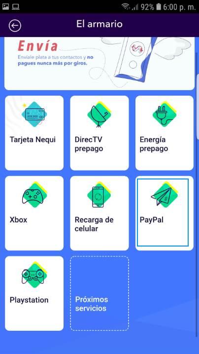 PayPal a Bancolombia y otros bancos con Nequi